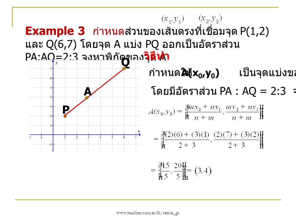 www.teacher.ssru.ac.th/serisa_pi Example 3 กำหนดส่วนของเส้นตรงที่เชื่อมจุด P(1,2) และ Q(6,7) โดยจุด A แบ่ง PQ ออกเป็นอัตราส่วน PA:AQ=2:3 จงหาพิกัดของจ