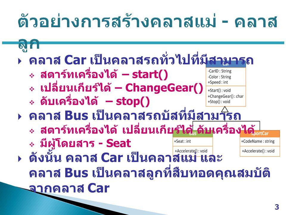 3  คลาส Car เป็นคลาสรถทั่วไปที่มีสามารถ  สตาร์ทเครื่องได้ – start()  เปลี่ยนเกียร์ได้ – ChangeGear()  ดับเครื่องได้ – stop()  คลาส Bus เป็นคลาสรถบัสที่มีสามารถ  สตาร์ทเครื่องได้ เปลี่ยนเกียร์ได้ ดับเครื่องได้  มีผู้โดยสาร - Seat  ดังนั้น คลาส Car เป็นคลาสแม่ และ คลาส Bus เป็นคลาสลูกที่สืบทอดคุณสมบัติ จากคลาส Car