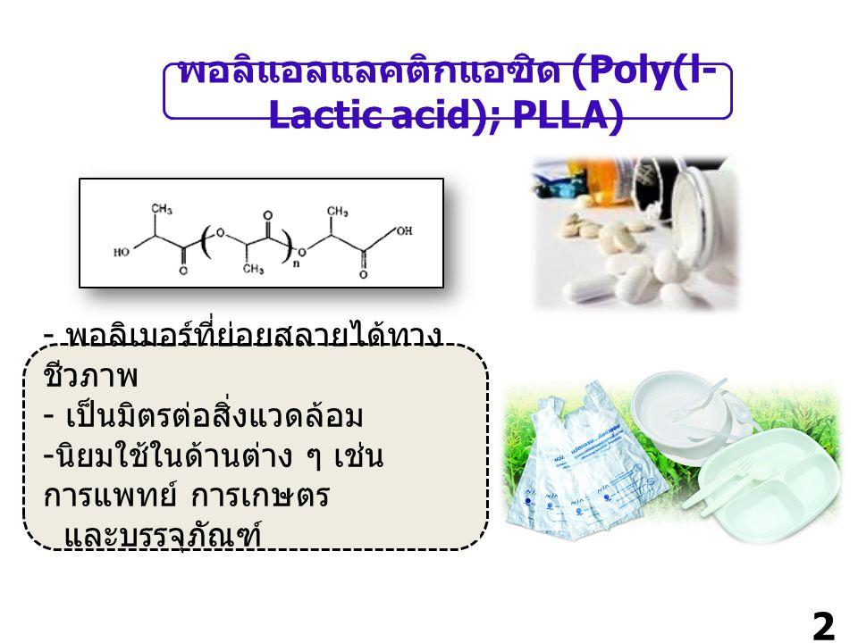 2 พอลิแอลแลคติกแอซิด (Poly(l- Lactic acid); PLLA) - พอลิเมอร์ที่ย่อยสลายได้ทาง ชีวภาพ - เป็นมิตรต่อสิ่งแวดล้อม - นิยมใช้ในด้านต่าง ๆ เช่น การแพทย์ การเกษตร และบรรจุภัณฑ์