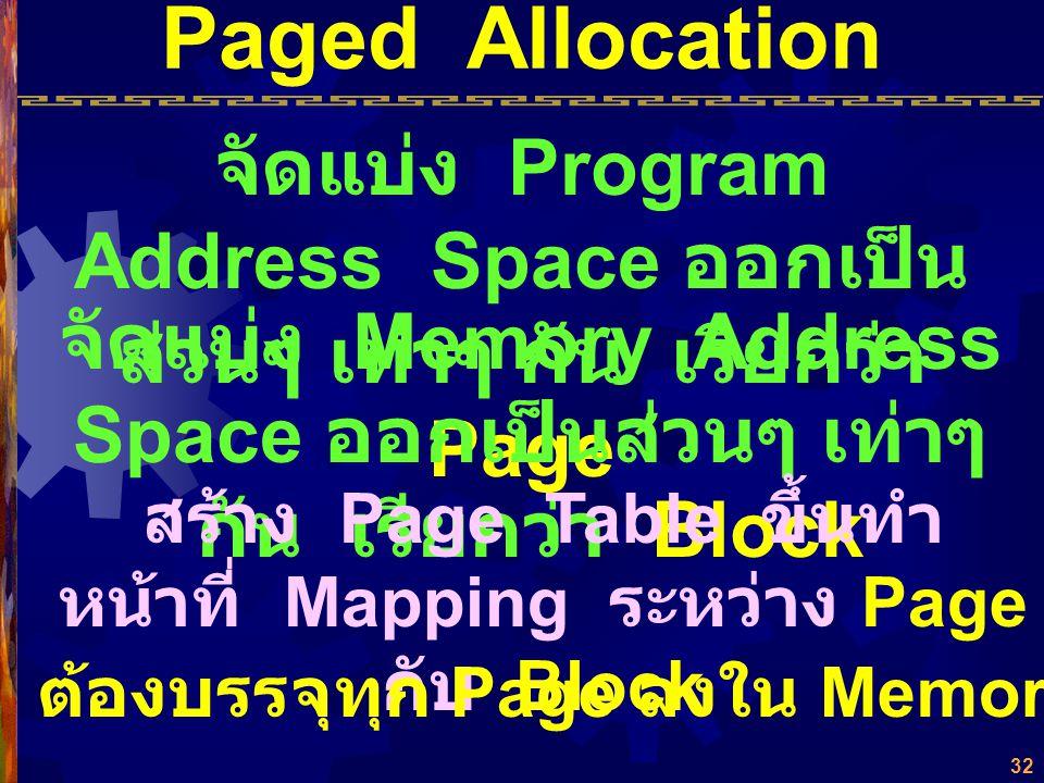 31 ปัญหา ค่าตำแหน่งที่มีการอ้างอิง เดิม จะเปลี่ยนเป็นค่า ตำแหน่งใหม่อย่างไร ? ใช้ Relocation Register Overhead of Relocation Fragmentation Partition A