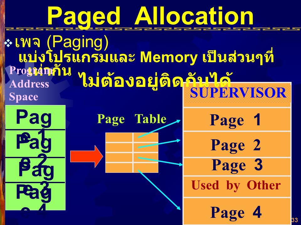32 Paged Allocation จัดแบ่ง Program Address Space ออกเป็น ส่วนๆ เท่าๆ กัน เรียกว่า Page จัดแบ่ง Memory Address Space ออกเป็นส่วนๆ เท่าๆ กัน เรียกว่า B