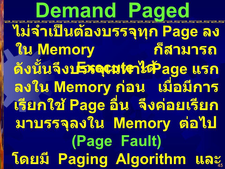 44 Virtual Memory  ความจำเสมือน (Virtual Memory) แบ่งเป็น Pages หรือ Segments SUPERVISOR Segment 1 Segment 3 Segment 5 Segment 4 Segment 2 Segment Ta