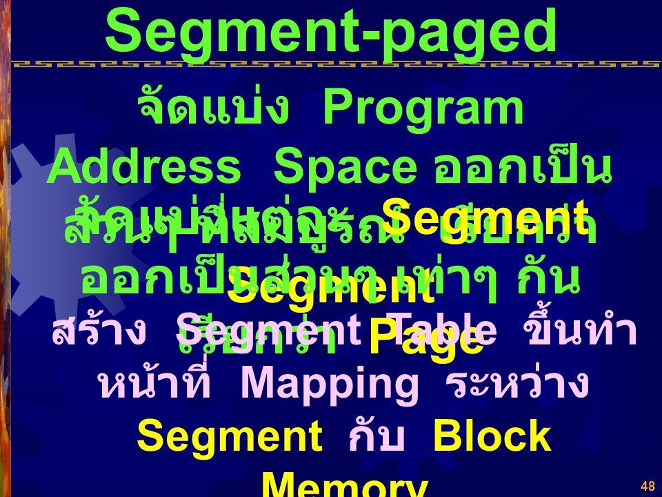 47 ระเบียบวิธีการตัดสินใจนำ Page เข้า - ออก (Paging Algorithm) ยังมีพื้นที่ว่างหน่วยความจำ เหลือใน Page สุดท้าย (Page- Breakage) ปัญหา กรณีวนสลับนำ Pa