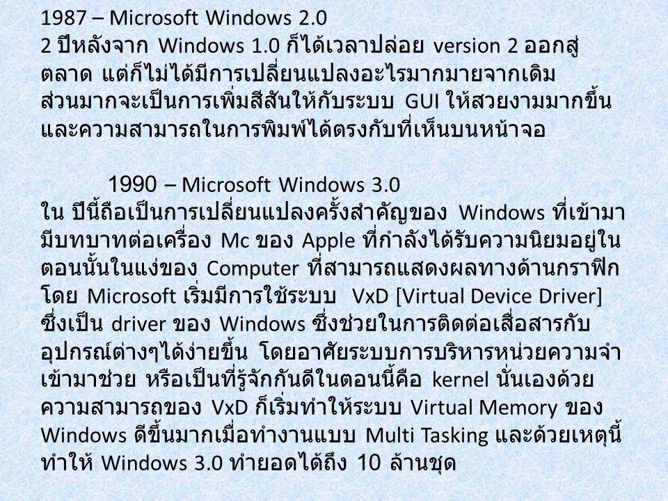 1987 – Microsoft Windows 2.0 2 ปีหลังจาก Windows 1.0 ก็ได้เวลาปล่อย version 2 ออกสู่ ตลาด แต่ก็ไม่ได้มีการเปลี่ยนแปลงอะไรมากมายจากเดิม ส่วนมากจะเป็นกา
