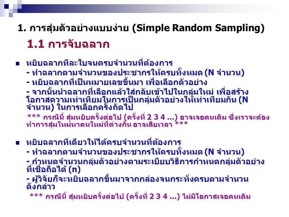 1.1 การจับฉลาก 1. การสุ่มตัวอย่างแบบง่าย (Simple Random Sampling) หยิบฉลากทีละใบจนครบจำนวนที่ต้องการ - ทำฉลากตามจำนวนของประชากรให้ครบทั้งหมด (N จำนวน)