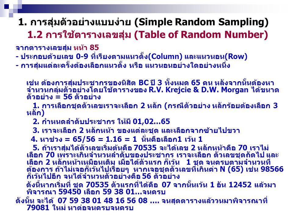 1.2 การใช้ตารางเลขสุ่ม (Table of Random Number) 1. การสุ่มตัวอย่างแบบง่าย (Simple Random Sampling) จากตารางเลขสุ่ม หน้า 85 - ประกอบด้วยเลข 0-9 ที่เรีย