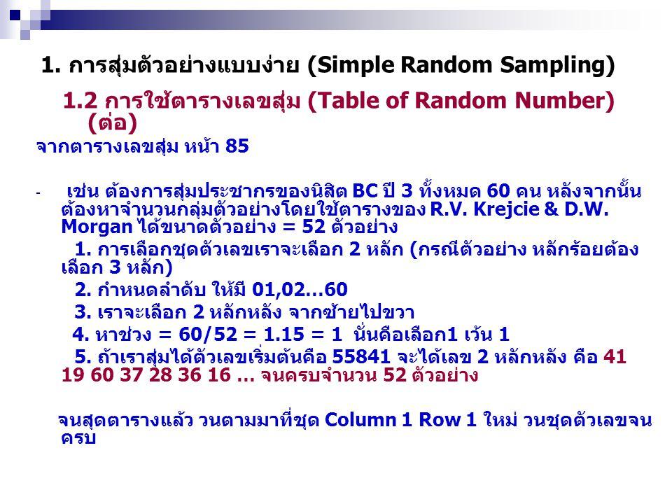 1.2 การใช้ตารางเลขสุ่ม (Table of Random Number) (ต่อ) 1. การสุ่มตัวอย่างแบบง่าย (Simple Random Sampling) จากตารางเลขสุ่ม หน้า 85 - เช่น ต้องการสุ่มประ