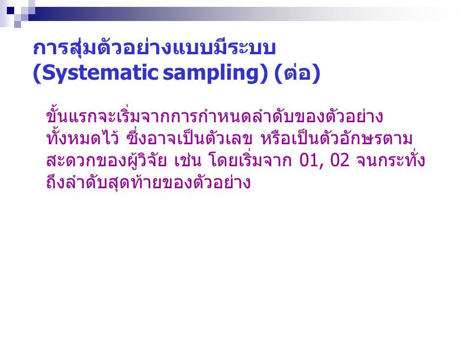 การสุ่มตัวอย่างแบบมีระบบ (Systematic sampling) (ต่อ) ขั้นแรกจะเริ่มจากการกำหนดลำดับของตัวอย่าง ทั้งหมดไว้ ซึ่งอาจเป็นตัวเลข หรือเป็นตัวอักษรตาม สะดวกข