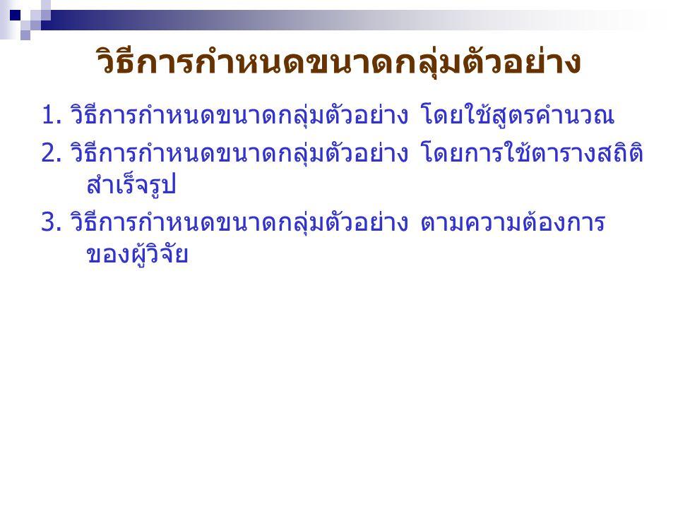 การใช้สูตรคำนวณ กรณีที่ประชากรมีจำนวนไม่แน่นอน (Infinite population) ซึ่งผู้วิจัยไม่ทราบ จำนวนประชากร ทราบเพียงว่ามีจำนวนมาก ใช้สูตรดังนี้ N = (Zc  / em) 2 ประชากรที่ไม่แน่นอนเช่น คนที่เป็น โรคเบาหวานในประเทศไทย