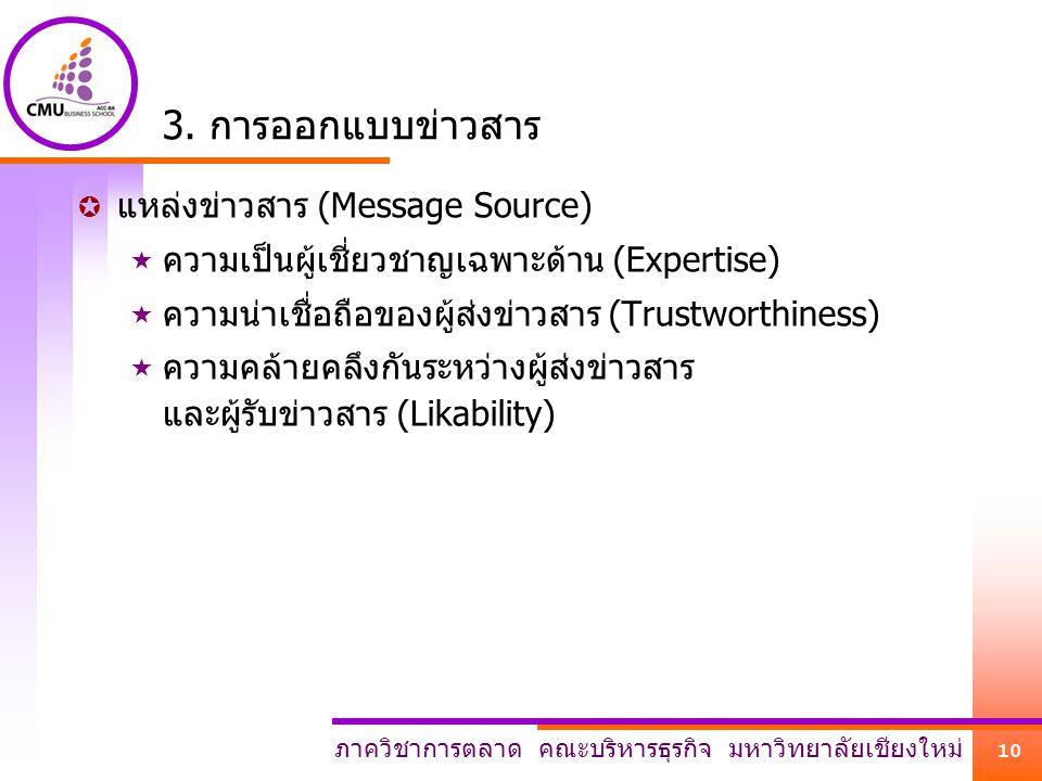 ภาควิชาการตลาด คณะบริหารธุรกิจ มหาวิทยาลัยเชียงใหม่ 10 3. การออกแบบข่าวสาร  แหล่งข่าวสาร (Message Source)  ความเป็นผู้เชี่ยวชาญเฉพาะด้าน (Expertise)