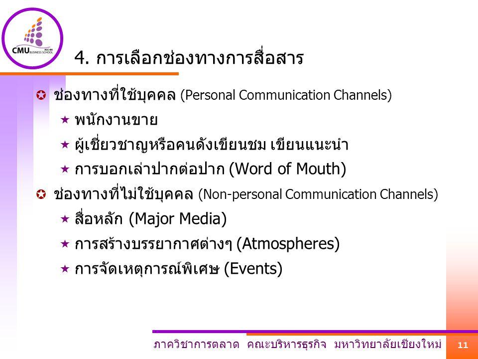 ภาควิชาการตลาด คณะบริหารธุรกิจ มหาวิทยาลัยเชียงใหม่ 11 4. การเลือกช่องทางการสื่อสาร  ช่องทางที่ใช้บุคคล (Personal Communication Channels)  พนักงานขา