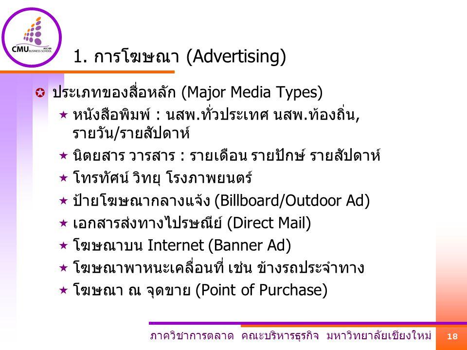 ภาควิชาการตลาด คณะบริหารธุรกิจ มหาวิทยาลัยเชียงใหม่ 18 1. การโฆษณา (Advertising)  ประเภทของสื่อหลัก (Major Media Types)  หนังสือพิมพ์ : นสพ.ทั่วประเ