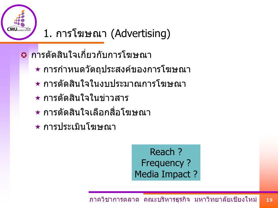 ภาควิชาการตลาด คณะบริหารธุรกิจ มหาวิทยาลัยเชียงใหม่ 19 1. การโฆษณา (Advertising)  การตัดสินใจเกี่ยวกับการโฆษณา  การกำหนดวัตถุประสงค์ของการโฆษณา  กา