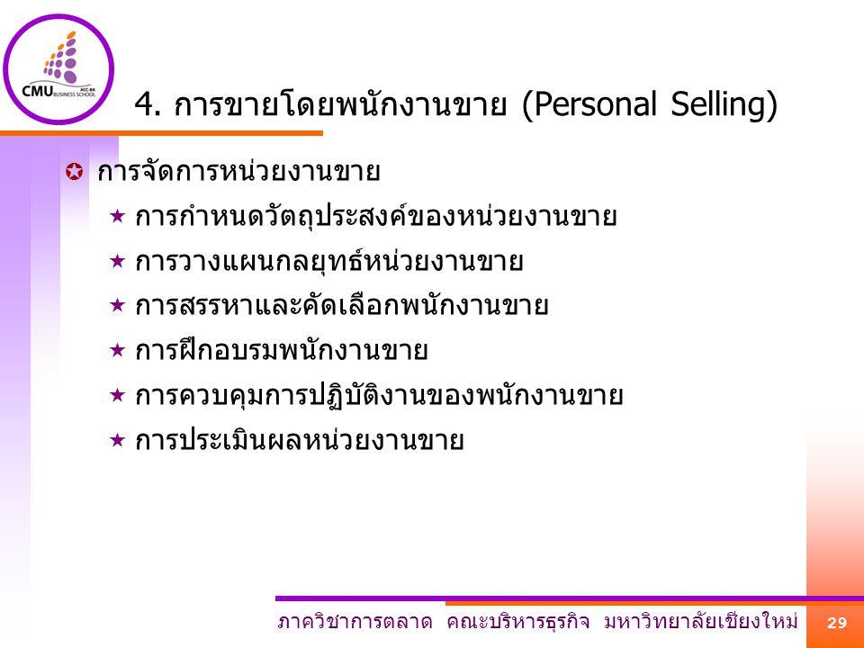 ภาควิชาการตลาด คณะบริหารธุรกิจ มหาวิทยาลัยเชียงใหม่ 29 4. การขายโดยพนักงานขาย (Personal Selling)  การจัดการหน่วยงานขาย  การกำหนดวัตถุประสงค์ของหน่วย