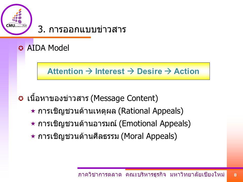 ภาควิชาการตลาด คณะบริหารธุรกิจ มหาวิทยาลัยเชียงใหม่ 8 3. การออกแบบข่าวสาร  AIDA Model  เนื้อหาของข่าวสาร (Message Content)  การเชิญชวนด้านเหตุผล (R