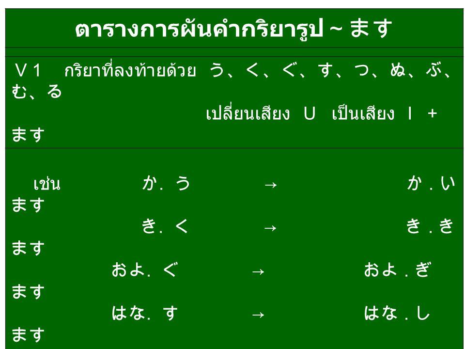 ตารางการผันคำกริยารูป~ます V 1 กริยาที่ลงท้ายด้วย う、く、ぐ、す、つ、ぬ、ぶ、 む、る เปลี่ยนเสียง U เป็นเสียง I + ます เช่น か. う → か. い ます き. く → き. き ます およ. ぐ → およ. ぎ ます