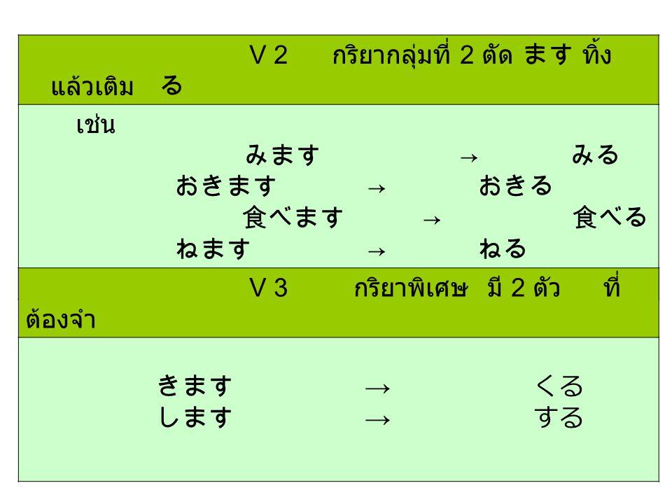 V 2 กริยากลุ่มที่ 2 ตัด ます ทิ้ง แล้วเติม る เช่น みます → みる おきます → おきる 食べます → 食べる ねます → ねる V 3 กริยาพิเศษ มี 2 ตัว ที่ ต้องจำ きます → くる します → する