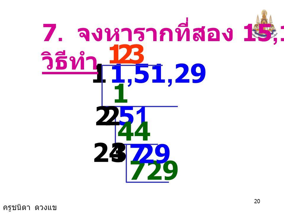 ครูชนิดา ดวงแข 19 6. จงหารากที่สอง 3,249 วิธีทำ 5 25 32,49 7 10 749 57 7 รากที่สองของ 3,249 คือ 57 และ -57 49