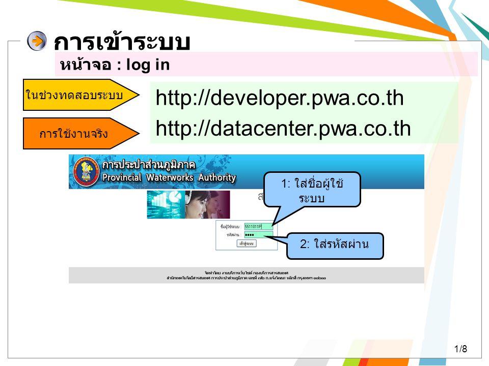การเข้าระบบ หน้าจอ : log in 1: ใส่ชื่อผู้ใช้ ระบบ 2: ใส่รหัสผ่าน ในช่วงทดสอบระบบ http://developer.pwa.co.th การใช้งานจริง http://datacenter.pwa.co.th