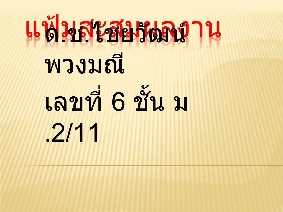 ด. ช. ไชยวัฒน์ พวงมณี เลขที่ 6 ชั้น ม.2/11