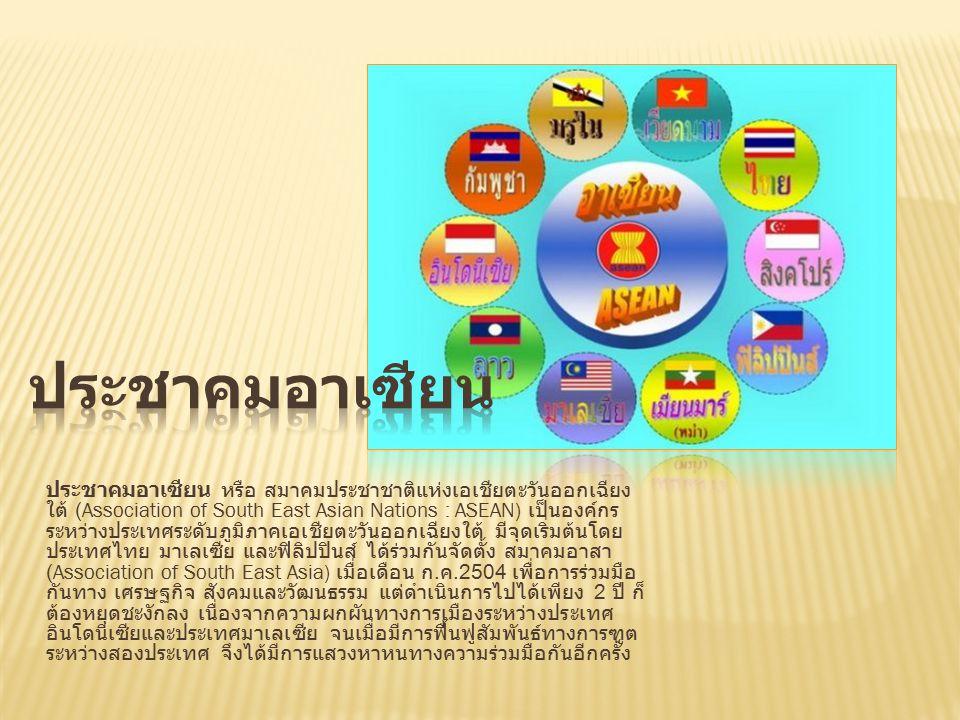 ประชาคมอาเซียน หรือ สมาคมประชาชาติแห่งเอเชียตะวันออกเฉียง ใต้ (Association of South East Asian Nations : ASEAN) เป็นองค์กร ระหว่างประเทศระดับภูมิภาคเอเชียตะวันออกเฉียงใต้ มีจุดเริ่มต้นโดย ประเทศไทย มาเลเซีย และฟิลิปปินส์ ได้ร่วมกันจัดตั้ง สมาคมอาสา (Association of South East Asia) เมื่อเดือน ก.