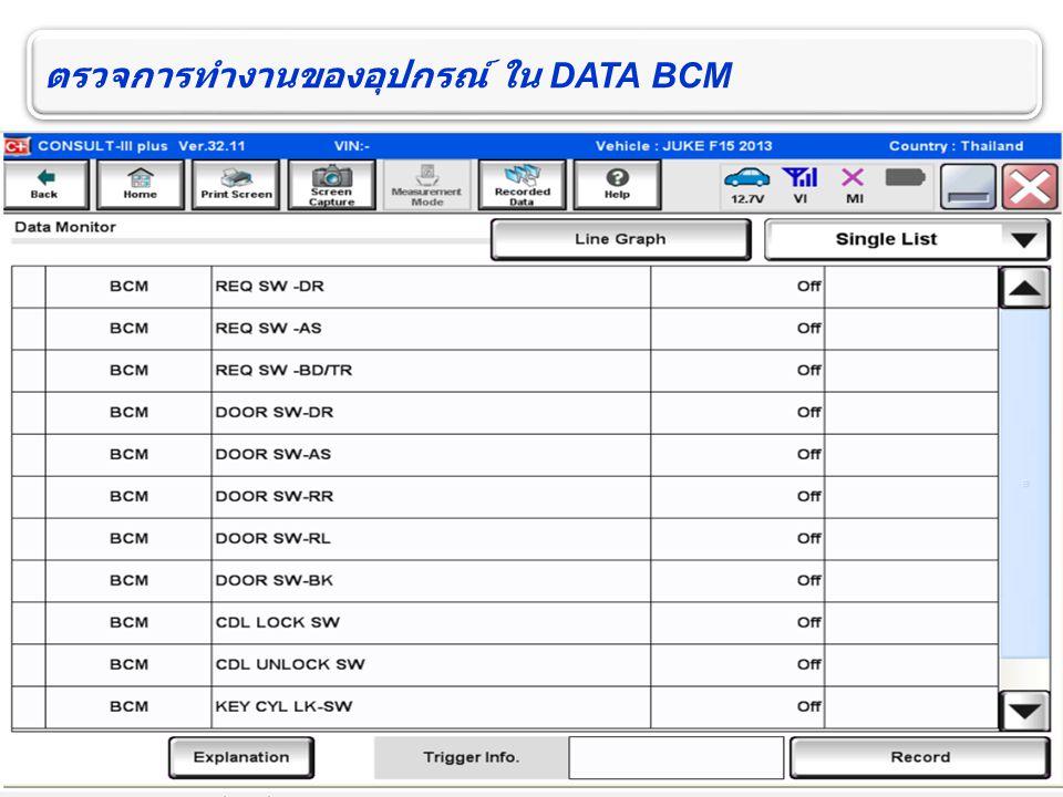 ตรวจการทำงานของอุปกรณ์ ใน DATA BCM