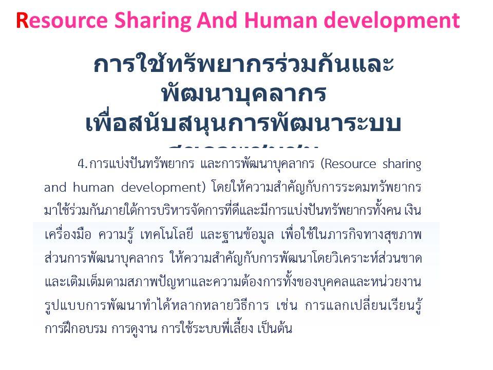 Resource Sharing And Human development การใช้ทรัพยากรร่วมกันและ พัฒนาบุคลากร เพื่อสนับสนุนการพัฒนาระบบ สุขภาพชุมชน ( แบ่งปันทรัพยากร )