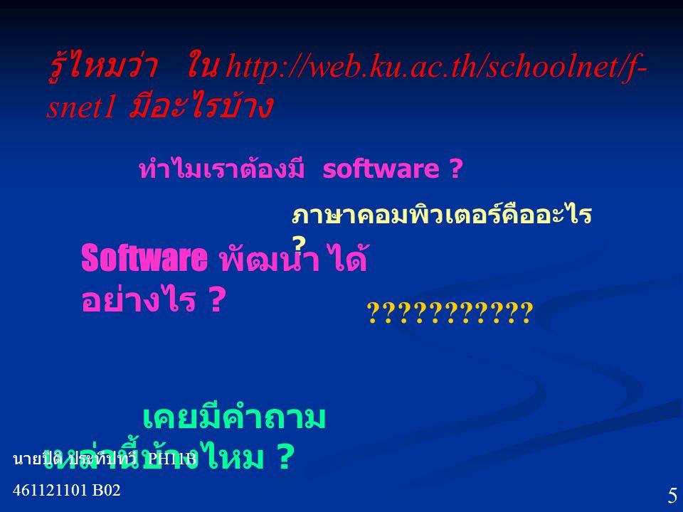 รู้ไหมว่า ใน http://web.ku.ac.th/schoolnet/f- snet1 มีอะไรบ้าง ทำไมเราต้องมี software .