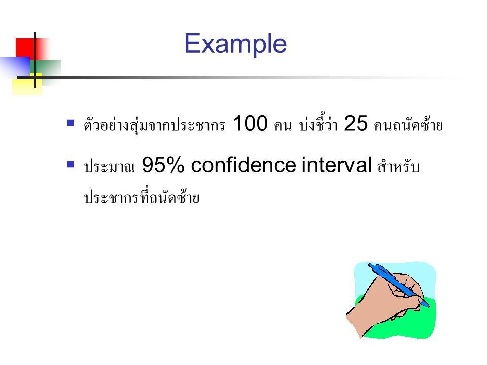 Example  ตัวอย่างสุ่มจากประชากร 100 คน บ่งชี้ว่า 25 คนถนัดซ้าย  ประมาณ 95% confidence interval สำหรับ ประชากรที่ถนัดซ้าย