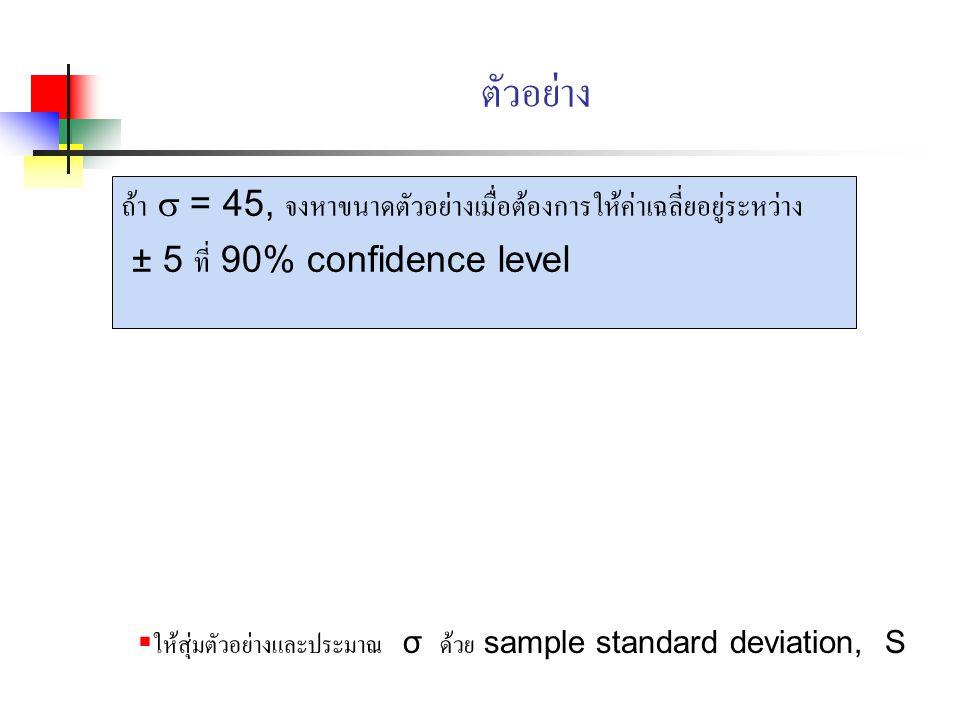 ตัวอย่าง ถ้า  = 45, จงหาขนาดตัวอย่างเมื่อต้องการให้ค่าเฉลี่ยอยู่ระหว่าง ± 5 ที่ 90% confidence level  ให้สุ่มตัวอย่างและประมาณ σ ด้วย sample standar