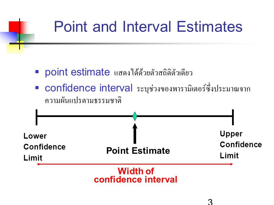 3 Point and Interval Estimates  point estimate แสดงได้ด้วยตัวสถิติตัวเดียว  confidence interval ระบุช่วงของพารามิเตอร์ซึ่งประมาณจาก ความผันแปรตามธรร