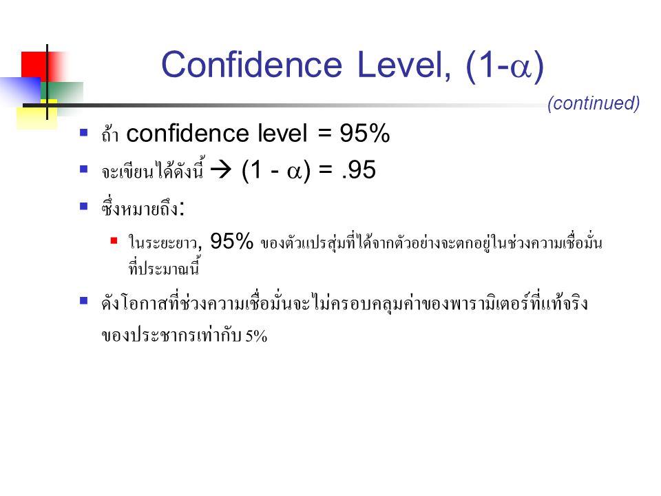 Confidence Level, (1-  )  ถ้า confidence level = 95%  จะเขียนได้ดังนี้  (1 -  ) =.95  ซึ่งหมายถึง :  ในระยะยาว, 95% ของตัวแปรสุ่มที่ได้จากตัวอย