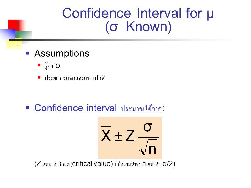 Confidence Interval for μ (σ Known)  Assumptions  รู้ค่า σ  ประชากรแจกแจงแบบปกติ  Confidence interval ประมาณได้จาก : (Z แทน ค่าวิกฤต (critical val