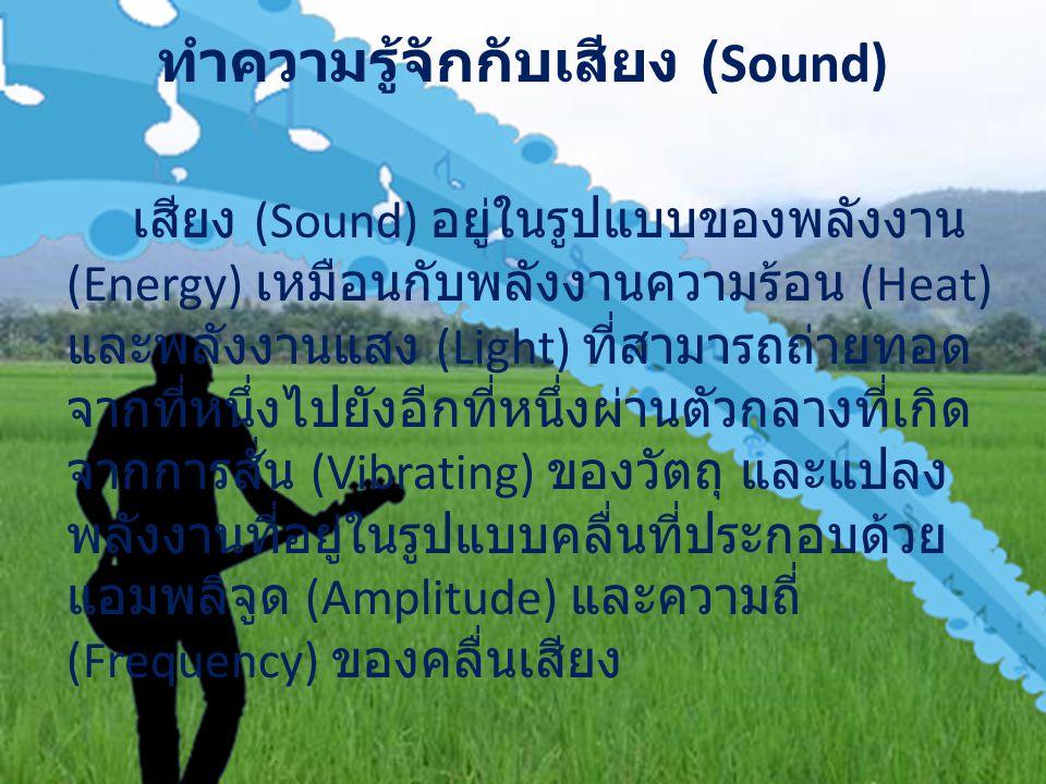 ทำความรู้จักกับเสียง (Sound) เสียง (Sound) อยู่ในรูปแบบของพลังงาน (Energy) เหมือนกับพลังงานความร้อน (Heat) และพลังงานแสง (Light) ที่สามารถถ่ายทอด จากที่หนึ่งไปยังอีกที่หนึ่งผ่านตัวกลางที่เกิด จากการสั่น (Vibrating) ของวัตถุ และแปลง พลังงานที่อยู่ในรูปแบบคลื่นที่ประกอบด้วย แอมพลิจูด (Amplitude) และความถี่ (Frequency) ของคลื่นเสียง
