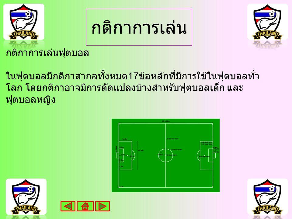 กติกาการเล่น กติกาการเล่นฟุตบอล ในฟุตบอลมีกติกาสากลทั้งหมด 17 ข้อหลักที่มีการใช้ในฟุตบอลทั่ว โลก โดยกติกาอาจมีการดัดแปลงบ้างสำหรับฟุตบอลเด็ก และ ฟุตบอลหญิง