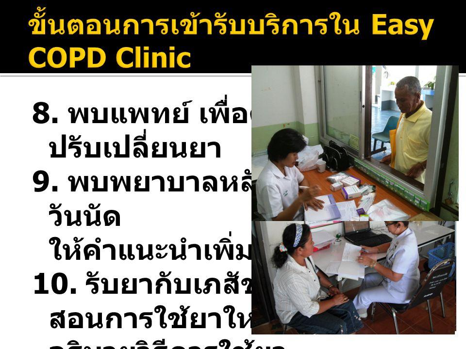 8. พบแพทย์ เพื่อตรวจรักษาและ ปรับเปลี่ยนยา 9. พบพยาบาลหลังตรวจ : เช็ค วันนัด ให้คำแนะนำเพิ่มเติม 10. รับยากับเภสัชกร สอนการใช้ยาใหม่ที่ได้รับ อธิบายวิ