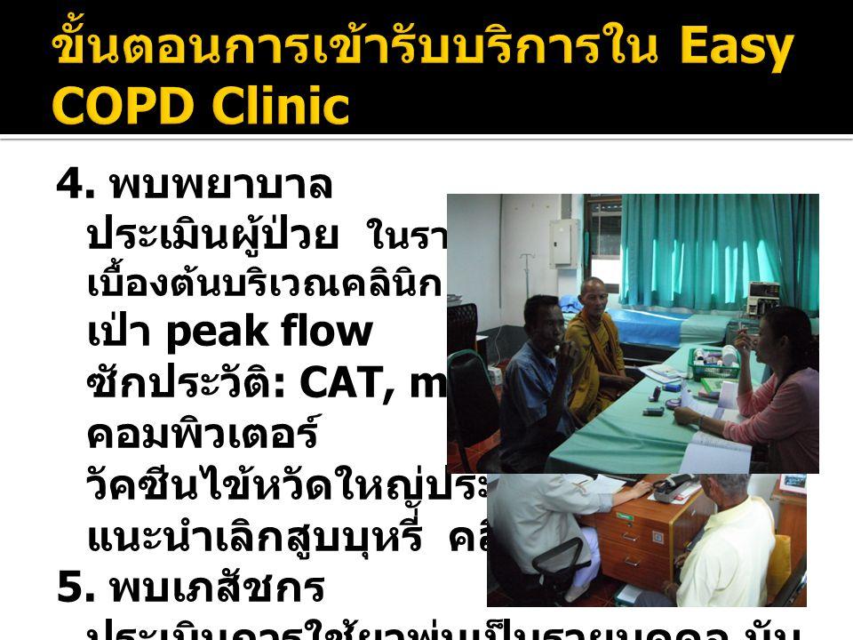 4. พบพยาบาล ประเมินผู้ป่วย ในรายที่หอบทำการพ่นยา เบื้องต้นบริเวณคลินิก เป่า peak flow ซักประวัติ : CAT, mMRC ฯลฯ ลง คอมพิวเตอร์ วัคซีนไข้หวัดใหญ่ประจำ