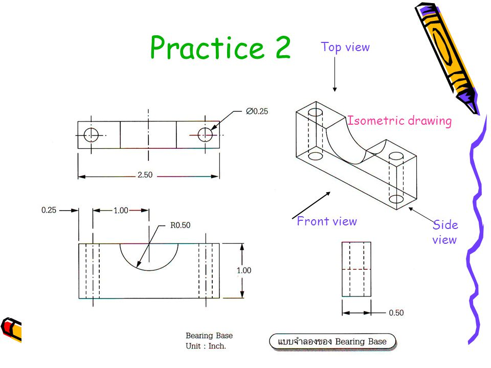 Practice 2 Isometric drawing Front view Top view Side view