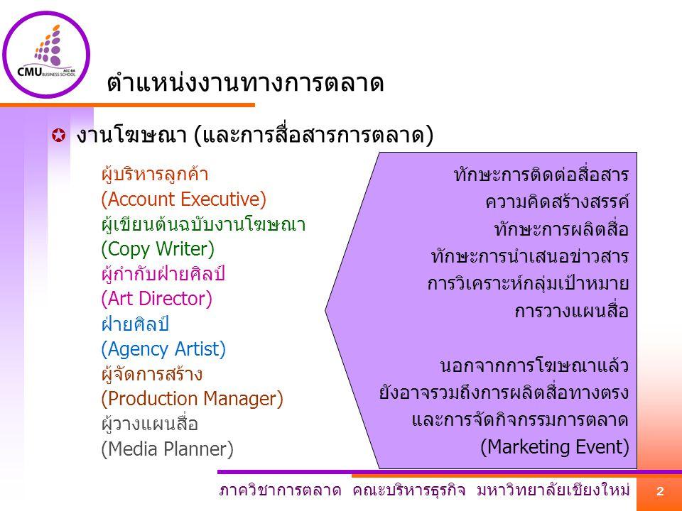 ภาควิชาการตลาด คณะบริหารธุรกิจ มหาวิทยาลัยเชียงใหม่ 3 ตำแหน่งงานทางการตลาด  งานด้านการประชาสัมพันธ์ พนักงานต้อนรับ (Reception) พนักงานรับโทรศัพท์ (Operator/Call Center) พนักงานชุมชนสัมพันธ์ (Community Relation) พนักงานลูกค้าสัมพันธ์/บริการลูกค้า (Customer Services) ทูตองค์การ/แบรนด์ (Organization/Brand Ambassador) พนักงานประชาสัมพันธ์สินค้า (Pretty) ทักษะการติดต่อสื่อสาร ทักษะการพูดจูงใจ ทักษะการเขียนข่าว ทัศนคติเชิงบวกต่องาน ไหวพริบ ปฏิภาณ การแก้ปัญหาเฉพาะหน้า บุคลิกภาพ น้ำเสียง