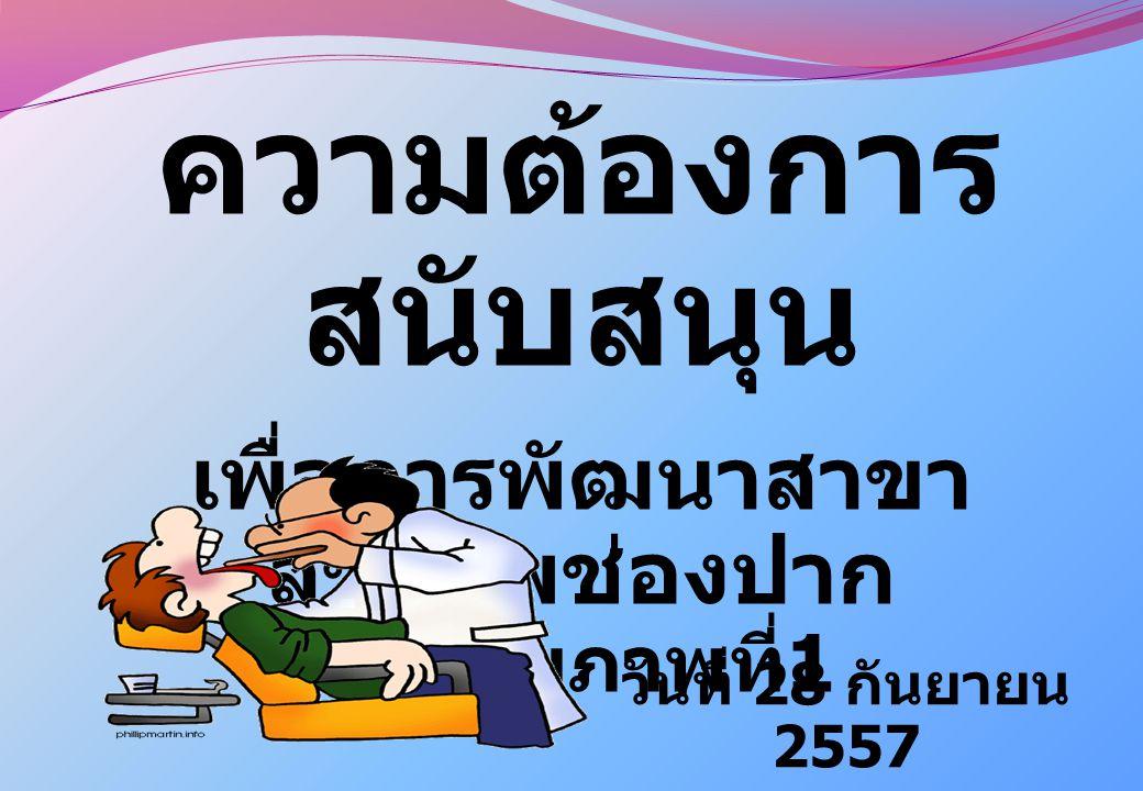 ความต้องการ สนับสนุน เพื่อการพัฒนาสาขา สุขภาพช่องปาก เขตสุขภาพที่ 1 วันที่ 28 กันยายน 2557