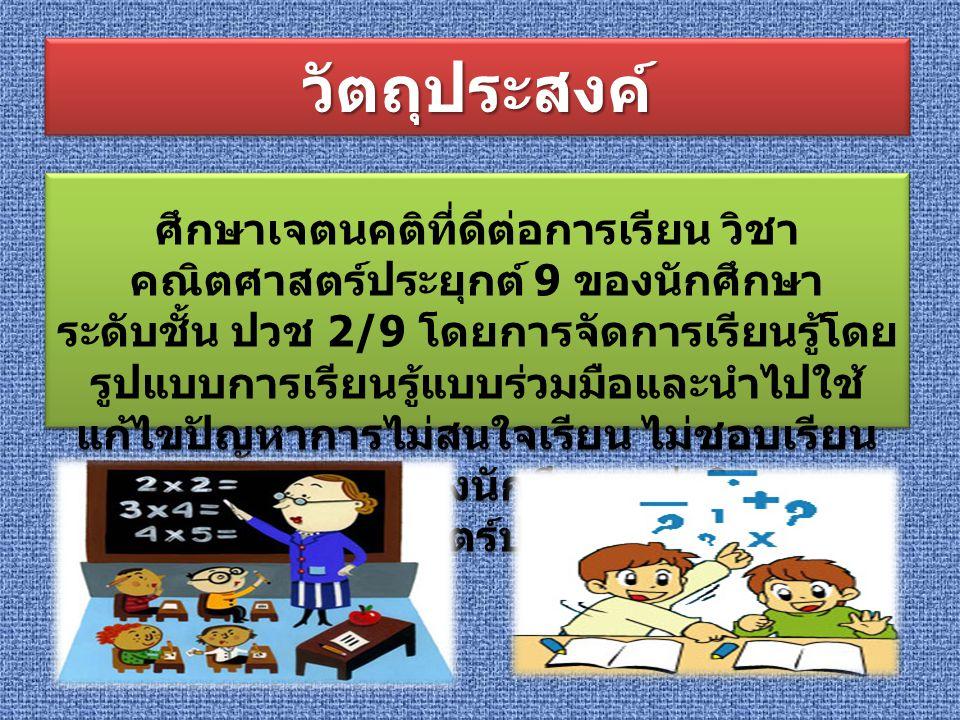 สรุปความสำคัญสรุปความสำคัญ ในการดำเนินการวิจัย เรื่อง การศึกษาเจตนคติที่ ดีต่อการเรียน วิชา คณิตศาสตร์ประยุกต์ 9 ของ นักเรียนระดับชั้น ปวช 2/9 โดยการจัดการเรียนรู้ โดยรูปแบบการเรียนรู้แบบร่วมมือ ภาคเรียนที่ 2 ปีการศึกษา 2555 วิทยาลัยเทคโนโลยีอยุธยา ผู้วิจัยได้ดำเนินการตามขั้นตอนดังต่อไปนี้ การกำหนดประชากรและกลุ่ม ตัวอย่าง เครื่องมือที่ใช้ในการวิจัย วิธีการดำเนินการสร้างเครื่องมือ การวิเคราะห์ข้อมูล การวิเคราะห์ข้อมูล และสถิติที่ใช้ ในการวิเคราะห์