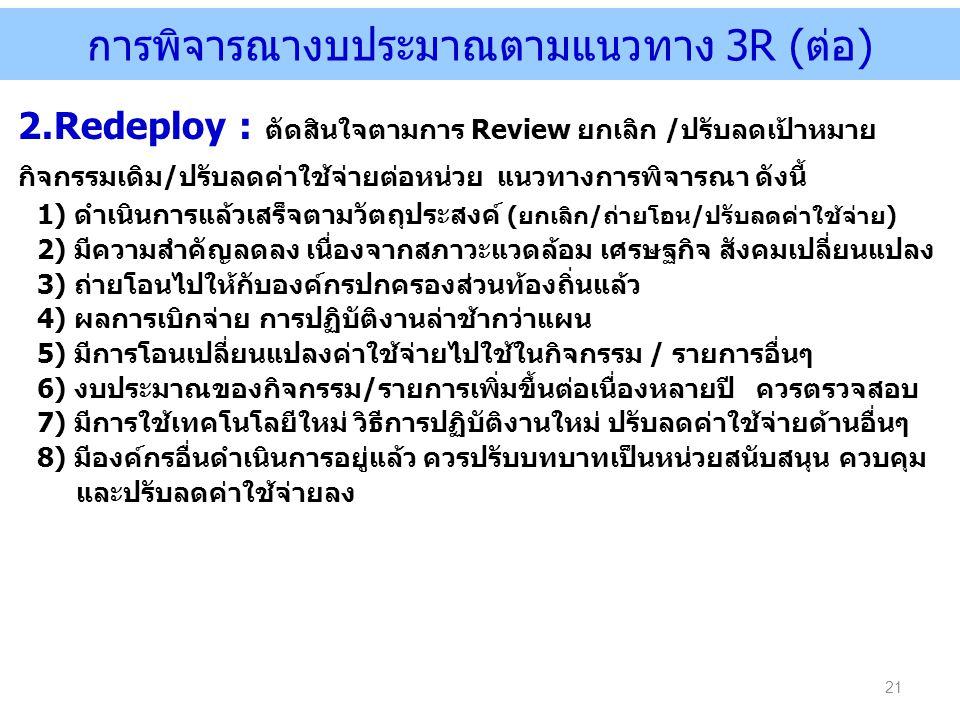 การพิจารณางบประมาณตามแนวทาง 3R (ต่อ) 21 2.Redeploy : ตัดสินใจตามการ Review ยกเลิก /ปรับลดเป้าหมาย กิจกรรมเดิม/ปรับลดค่าใช้จ่ายต่อหน่วย แนวทางการพิจารณ