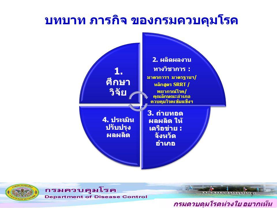 เป็นองค์กรชั้นนำระดับนานาชาติ ที่สังคมเชื่อถือและไว้วางใจ เพื่อปกป้องประชาชนจากโรคและภัยสุขภาพ ด้วยความเป็นเลิศทางวิชาการ ภายใน ปี 2563 วิสัยทัศน์ ประสิทธิผล คุณภาพ การให้บริการ ประสิทธิภาพของ การปฏิบัติราชการ การพัฒนาองค์กร เป็นศูนย์กลางของนโยบาย มาตรการ นวัตกรรม ข้อมูลอ้างอิงด้านการเฝ้าระวัง ป้องกัน ควบคุมโรคและภัยสุขภาพของชาติ ที่ได้มาตรฐานสากล เป็นที่ยอมรับ และเชื่อถือ เครือข่ายทุกระดับ สามารถบริหารจัดการ และขับเคลื่อน การเฝ้าระวัง ป้องกัน ควบคุมโรค/ภัยสุขภาพ และการบังคับใช้ กฎหมาย เพื่อลดปัญหาที่มีผลกระทบต่อสุขภาพ มีกลไกการสื่อสารสาธารณะ ประชาสัมพันธ์และเทคโนโลยี สารสนเทศที่ครอบคลุมและมีประสิทธิภาพได้มาตรฐาน มีกลไกการจัดการเตรียมความพร้อม และบูรณาการระบบตอบโต้ภาวะฉุกเฉินด้านโรค และภัยสุขภาพที่ได้มาตรฐานสากล มีกลไกการพยากรณ์โรค การติดตามประเมินผลภาพรวมและการติดตามประเมินผลการบริหารจัดการทรัพยากร ของการเฝ้าระวังป้องกันควบคุมโรคและภัยสุขภาพของประเทศตามมาตรฐานสากล เป็นองค์กรแห่งการเรียนรู้ และมีระบบบริหารจัดการที่ได้มาตรฐานสากล บุคลากรมีขีดสมรรถนะสูงและมีจิตใจให้บริการ แผนที่ยุทธศาสตร์ กรมควบคุมโรค ปี 2554 - 2558 ประชาชนกลุ่มเป้าหมายได้รับบริการเฉพาะโรคและภัยสุขภาพ ที่สำคัญ ตลอดจนโรคอุบัติใหม่ทีมีคุณภาพตามมาตรฐานสากล 6
