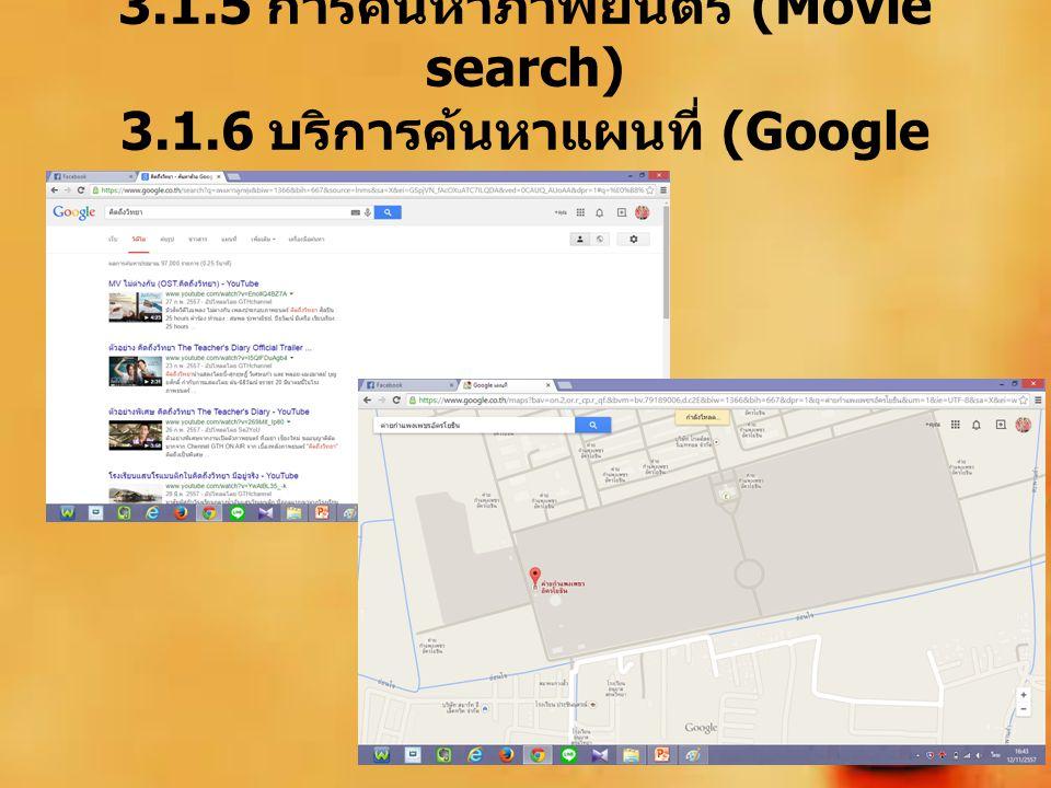 3.1.5 การค้นหาภาพยนตร์ (Movie search) 3.1.6 บริการค้นหาแผนที่ (Google maps )