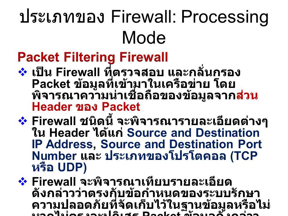 ประเภทของ Firewall: Processing Mode 6