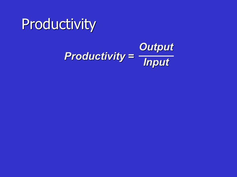 การ ผลิ ต Productivity = Outputs ÷ Inputs 1) Labor Productivity = Units Of Product 2) Multiple Productivity = Units Produced X Unit Price L + M + OH Labor Cost
