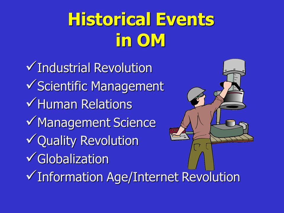 Historical Events in OM Industrial Revolution Industrial Revolution Scientific Management Scientific Management Human Relations Human Relations Management Science Management Science Quality Revolution Quality Revolution Globalization Globalization Information Age/Internet Revolution Information Age/Internet Revolution