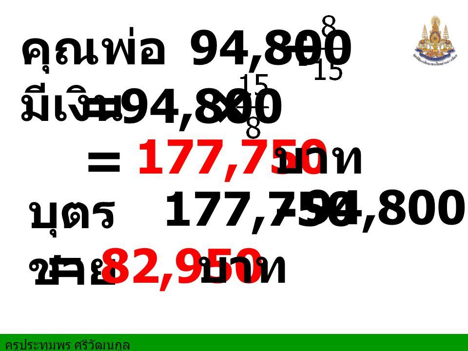 ครูประทุมพร ศรีวัฒนกูล ÷ คุณพ่อ มีเงิน = 94,800 × = 177,750 บาท บุตร ชาย 94,800 177,750 - = 82,950 บาท