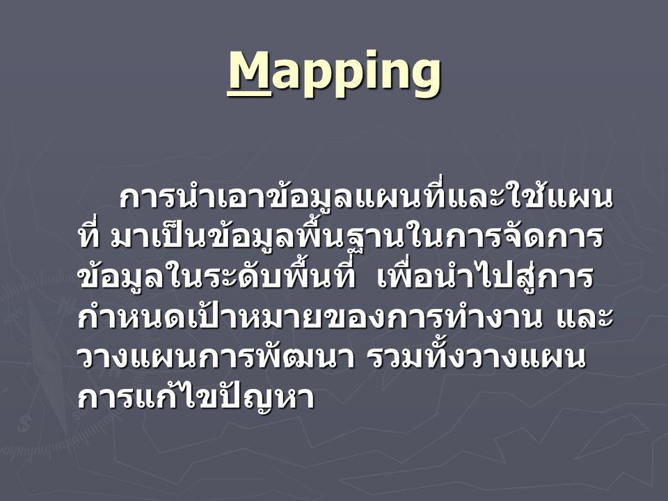 Mapping การนำเอาข้อมูลแผนที่และใช้แผน ที่ มาเป็นข้อมูลพื้นฐานในการจัดการ ข้อมูลในระดับพื้นที่ เพื่อนำไปสู่การ กำหนดเป้าหมายของการทำงาน และ วางแผนการพัฒนา รวมทั้งวางแผน การแก้ไขปัญหา