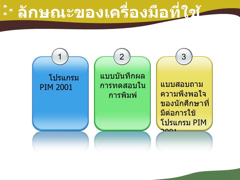 Company Logo ลักษณะของเครื่องมือที่ใช้ 123 แบบสอบถาม ความพึงพอใจ ของนักศึกษาที่ มีต่อการใช้ โปรแกรม PIM 2001 โปรแกรม PIM 2001 แบบบันทึกผล การทดสอบใน ก